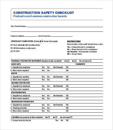 Construction Checklist Sasolo Annafora Co
