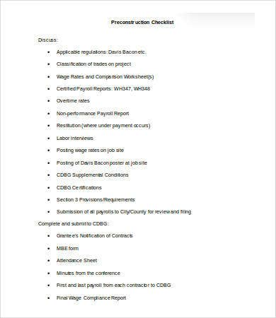 pre construction checklist template1