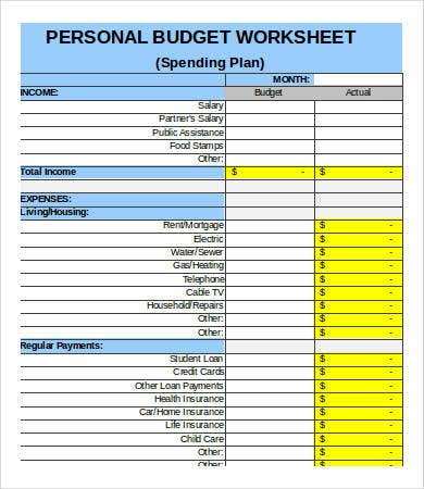 personal budget printables