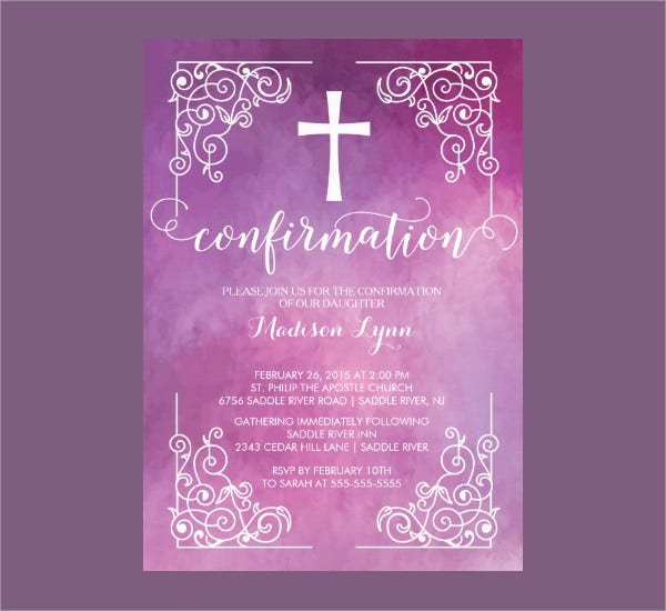 Modern Watercoler Cross Confirmation Invitation