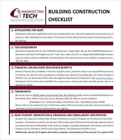building construction checklist template