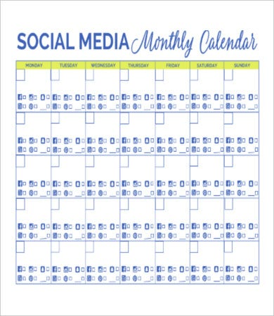 Social Media Calendar Templates Free Sample Example Format - Monthly social media calendar template
