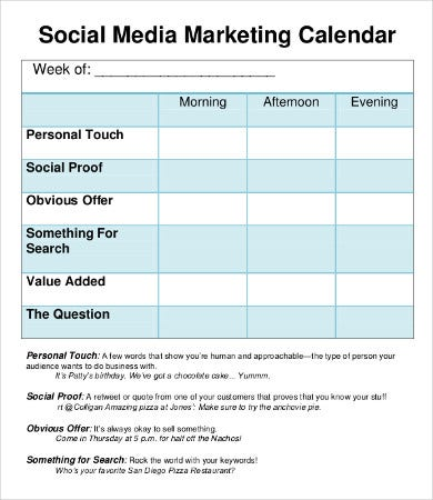 8 Social Media Calendar Templates Free Sample Example Format