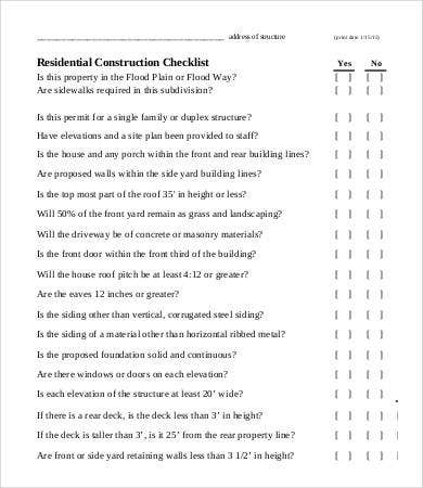 Construction checklist template 14 free word pdf for Material list for building a house spreadsheet