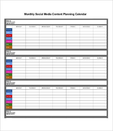 Social Media Calendar Templates  Free Sample Example Format