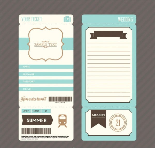 Wedding Invitaion Ticket Template