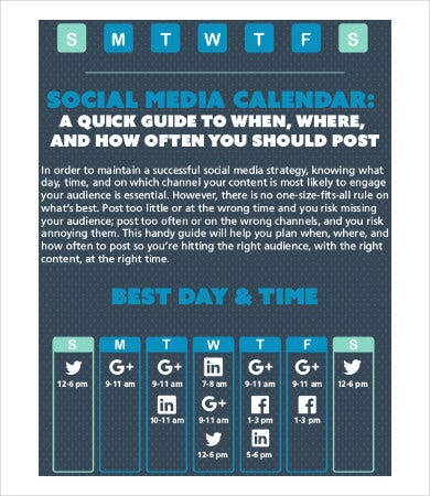 social media campaign calendar sample