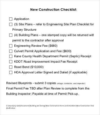 new construction checklist template