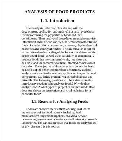 food product analysis template