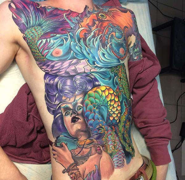 Mermaid Torso Tattoo