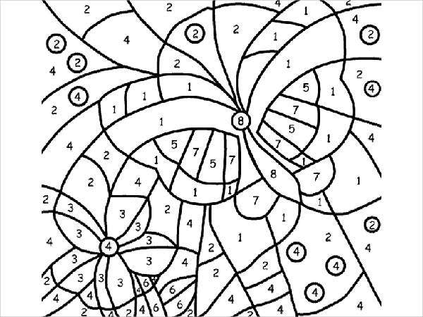 butterfly number coloring page