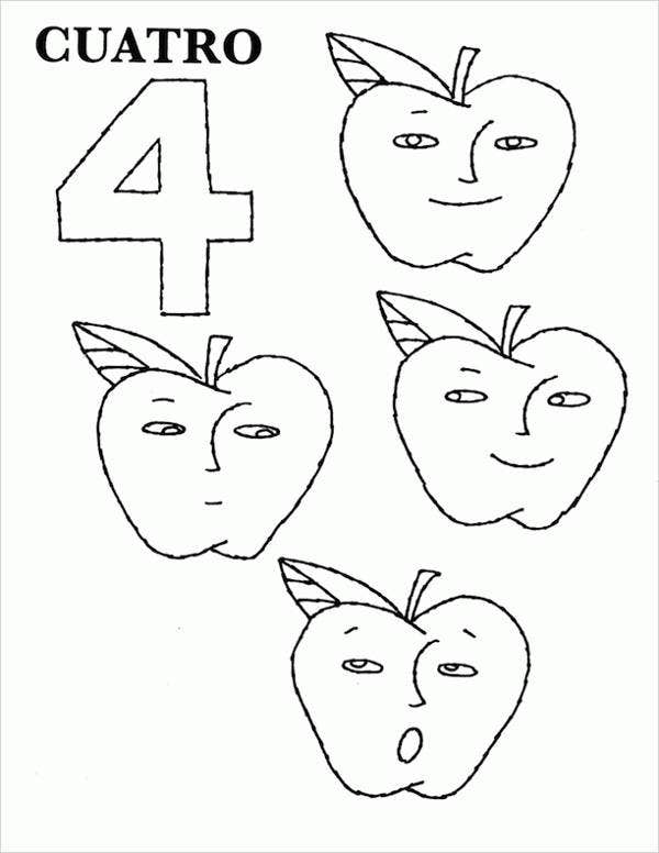 Spanish Number Coloring Page