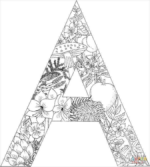 letter coloring pages for adult