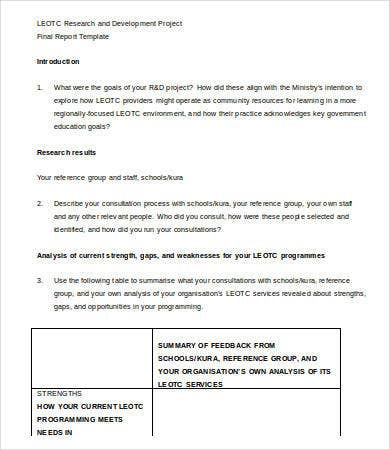 Professional Report Template Word   Free Sample Example