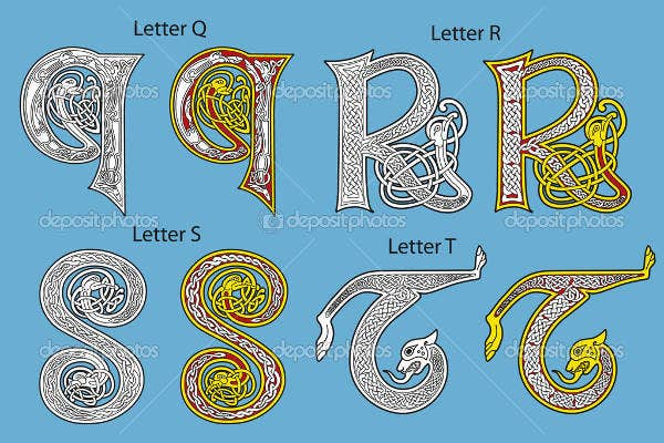 retro celtic alphabet letter