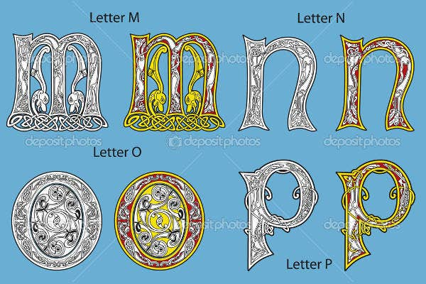 elegance celtic alphabet letter