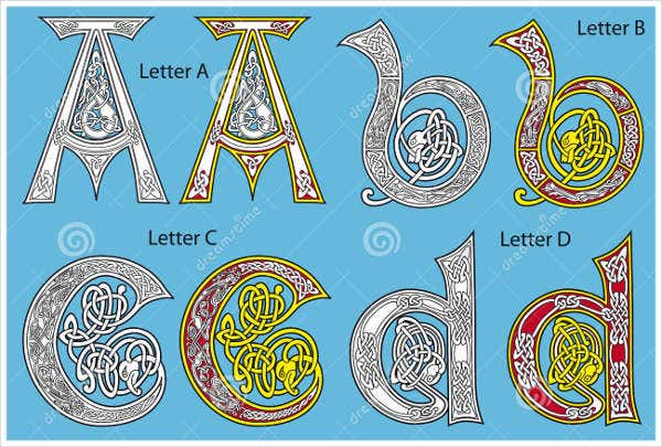 Celtic Alphabet Letter Illustration