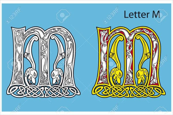 antique celtic alphabet letter