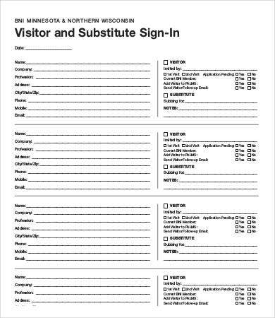 BNI Visitor and Sub Sign In Sheet Template