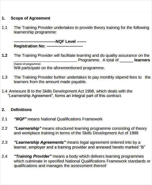 Training Service Level Agreement Template