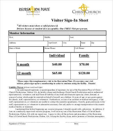 Church Visitor Sign In Sheet