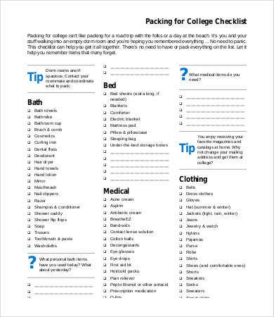 college packing checklist template