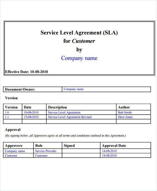 Service Level Agreement Templates  Free Word  Documents