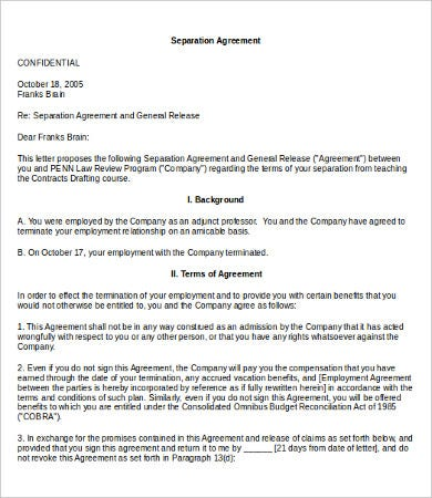 seperation agreement template - work agreement template 10 free word pdf documents