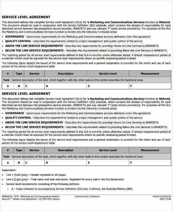 Service Level Agreement Templates  Free Word Pdf Documents