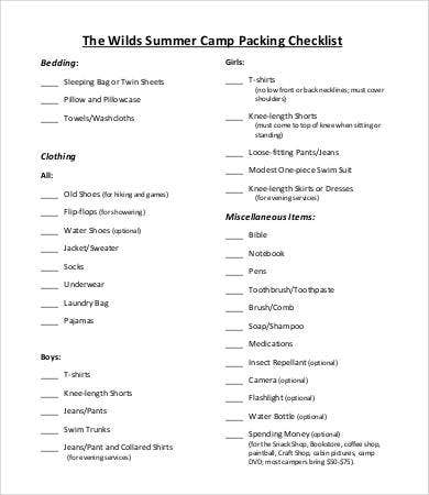 summer camp packing checklist template