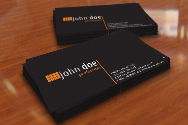 Simple Black Personal Business Card
