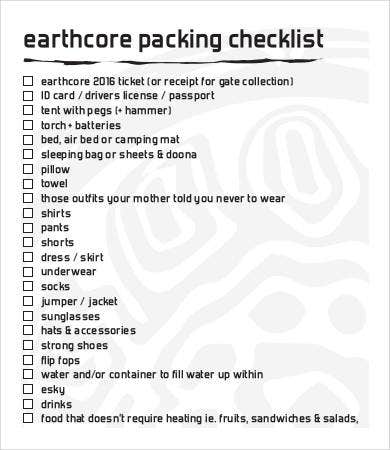 earth core packing checklist template