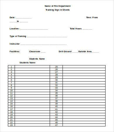 Training Sign In Sheet Template - 8+ Free Word, PDF Documents ...