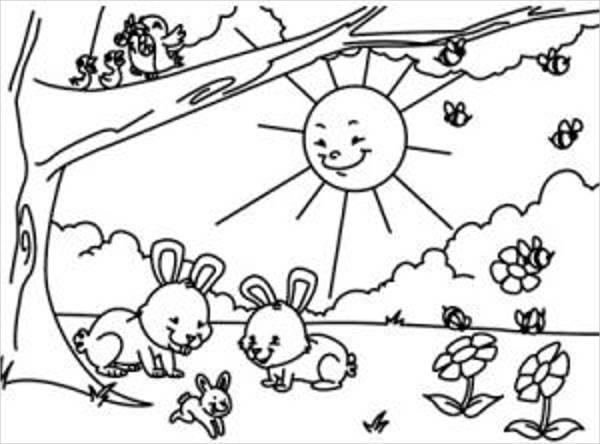 kindergarten spring coloring page