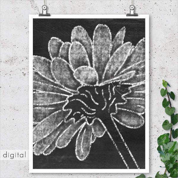 Flower Chalkboard Drawing