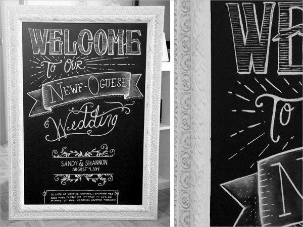 Wedding Chalkboard Drawing