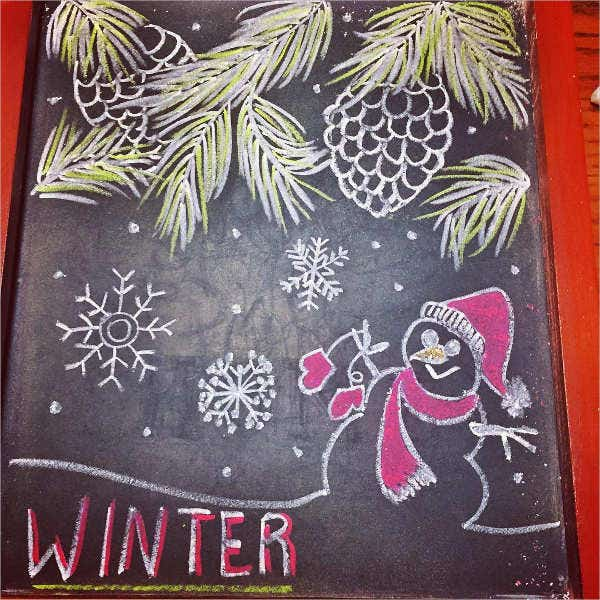 Winter Chalkboard Drawing