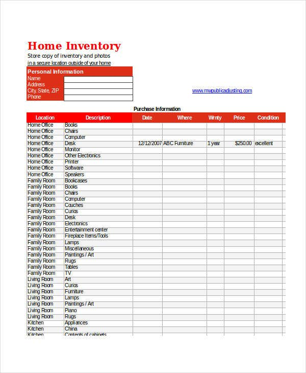 Excel Inventory Templates 9 Free Excel Documents Download – Home Inventory Template