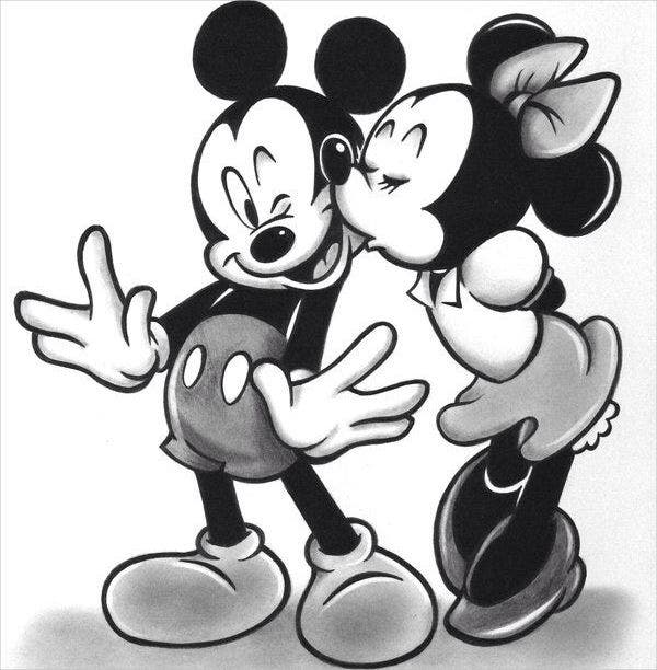 mickey and minnie drawing