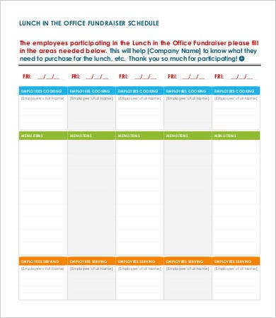 office lunch schedule template