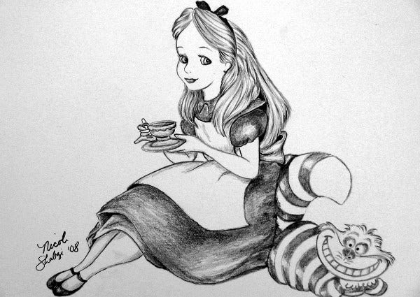 alice in wonderland photo drawing