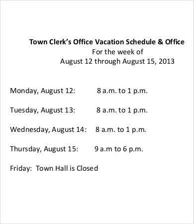 office vacation schedule template