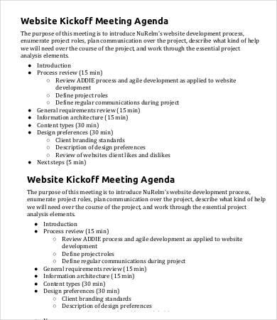 Kickoff Meeting Agenda Template 9 Free Sample Example Format