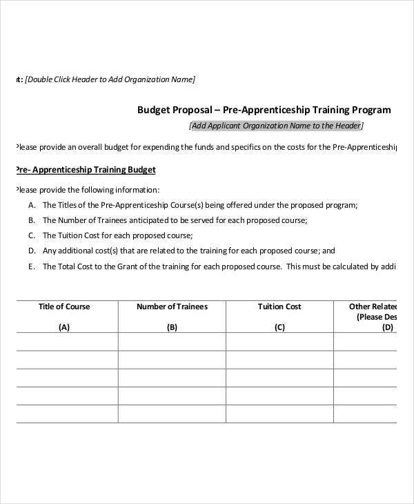 training program budget template
