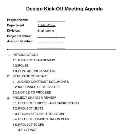 Kickoff Meeting Agenda Template   Free Sample Example Format