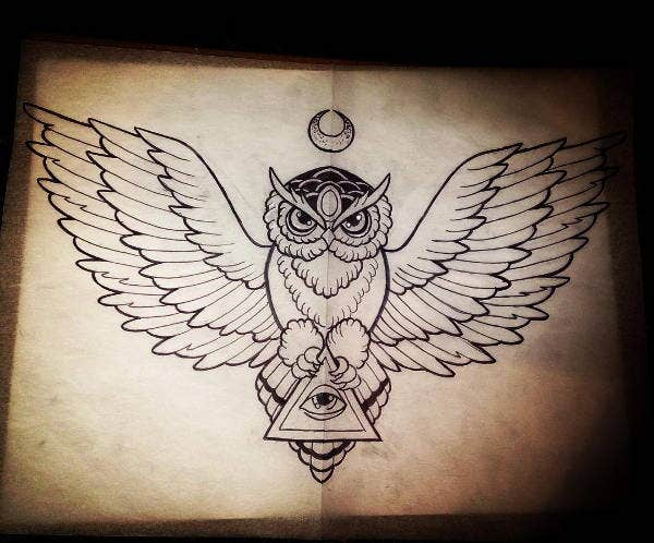 flying owl drawing