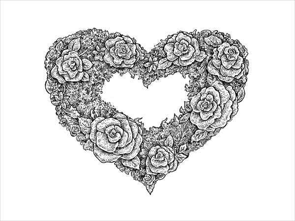 Floral Heart Drawing