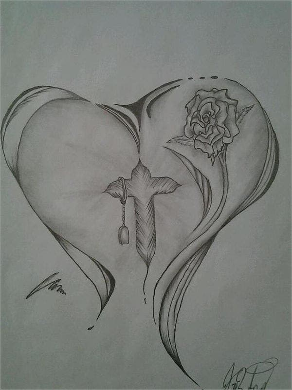 Rose and Heart Drawing