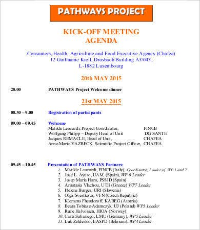 Kickoff meeting agenda template 9 free sample example format kick off meeting agenda for project template altavistaventures Choice Image