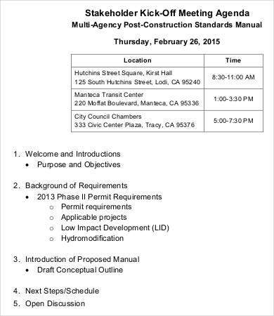 Stakeholder Kick Off Meeting Agenda